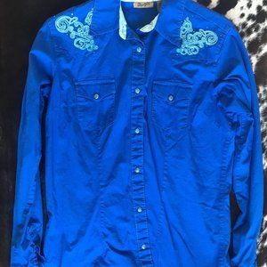 Blue Wrangler Button Up